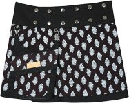 Reversible Button Wrap Black Short Skirt with White Buds