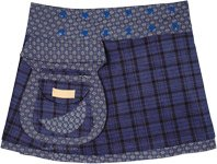 Buttoned Waist Reversible Blue Checkered Wrap Short Skirt