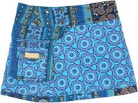 Royal Blue Button Wrap Short Skirt Reversible