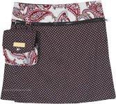 Brown Bohemian Paisley Printed Reversible Button Wrap Skirt
