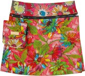 Floral Fantasy Reversible Wrap Short Skirt with Buttons
