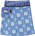 Reversible Blue Short A-Line Wrap Skirt Pocket