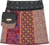 Vertical Floral Panels Reversible Short Wrap Skirt with Pockets