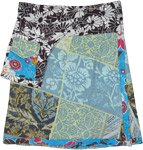 Abstract Floral Skirt with Snap Waist and Fanny Pocket