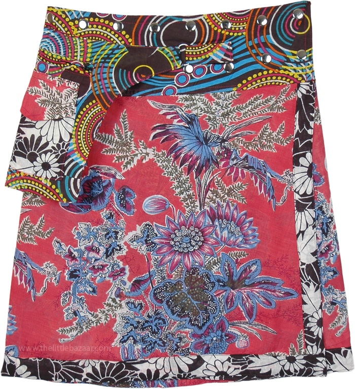 Wild Floral Short Snap Wrap Skirt with Fanny Pack