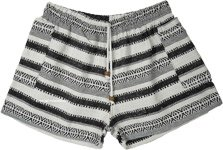 Black White Boho Striped Cotton Shorts with Pockets