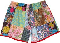 Floral Vines Patchwork Cotton Women Shorts