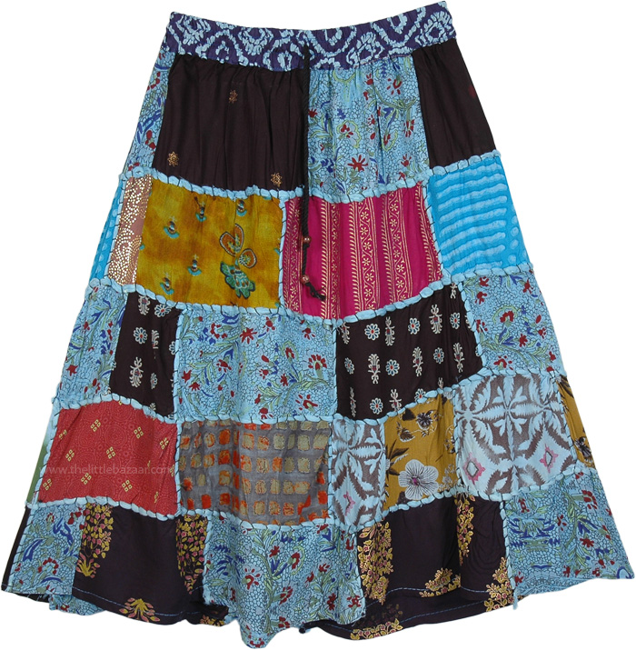 Blue Toned Patchwork Short Skirt Elastic Waist