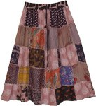 Deep Taupe Knee Length Gypsy Patchwork Skirt