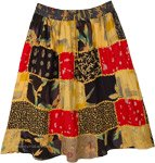 Orange Melange Rayon Short Patchwork Skirt