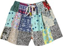 Lisbon Tropical Vines Shorts with Mixed Patchwork
