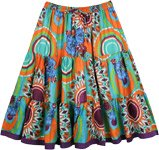 Abstract Floral Full Tiered Cotton Short Skirt