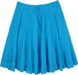 Turquoise Blue Tiered Short Skirt in Wrinkled Cotton
