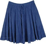 Crushed Cotton Tiered Short Skirt in Denim Blue
