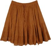 Copper Brown Short Skirt in Wrinkled Cotton