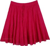 Fuschia Pink Tiered Cotton Short Skirt
