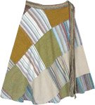 Sycamore Patchwork Knee Length Boho Wrap Skirt