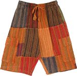 Tangerine Patchwork Unisex Bermuda Cargo Cotton Shorts