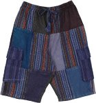 Unisex Purple Blue Hippie Cotton Patchwork Cargo Shorts