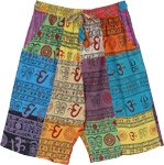 Om Print Unisex Bermuda Shorts Multicolor Patchwork and Pockets