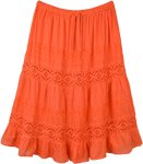 Orange Crush Cotton Midi Skirt with Lace