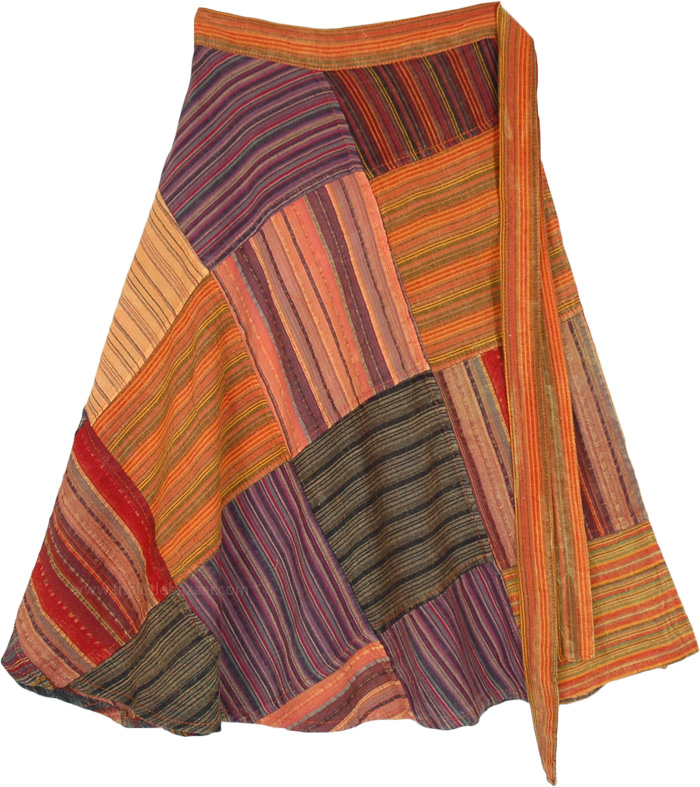 Pumpkin Spice Patchwork Short Wrap Skirt