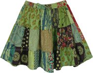 Floral Green Funky Short Cotton Patchwork Skirt
