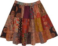 Floral Dusk Mixed Patchwork Cotton Short Skirt