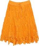 Tangerine Siesta Handmade Crochet Knit Short Skirt