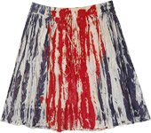 Red and Blue Tie Dye Crinkled Cotton Short Skirt