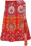 Scarlet Paisley Printed Short Wrap Around Skirt