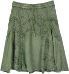 Seaweed Green Knee Length Medieval Rayon Skirt