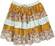 Beige Breeze Floral Short Skirt with Ruffled Layers