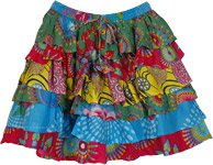 Carnival Colors Fun Short Skirt with Ruffled Layers