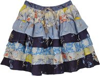 Summer Blues Ruffled Layers Short Skirt with Floral Prints