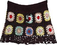 Kaleidoscope Circles Black Crochet Pattern Short Skirt