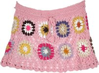 Pink Blossom Crochet Pattern Skirt with Multicolor Circles