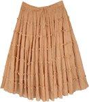 Bloomy Beige Crinkled Cotton Tiered Short Skirt