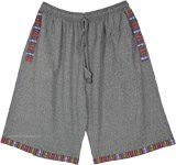 Metal Grey Woven Cotton Bermuda Shorts with Pockets