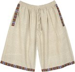 Bohemian Beige Woven Long Cotton Shorts with Pockets