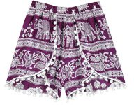 Elephant Print Hippie Shorts with Pompoms