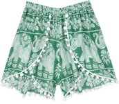 Bohemian Elephant Print Green Shorts with Pompoms