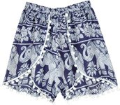 Navy White Elephant Print Hippie Shorts with Pompoms