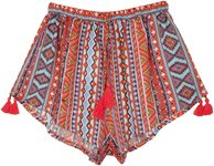 Crimson Tribal Geometrical Print Tassel Pull On Shorts