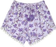 Lavender Cross Shorts with Pompoms and Floral Print