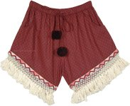 Classy Maroon Cotton Shorts with Crochet Tassels and Poms
