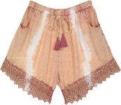 Dusky Melon Tie Dye Shorts with Crochet Bottom
