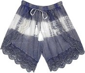 Steel Blue Cross Shorts with Tie Dye and Crochet Bottom