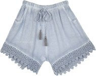 Cloud Grey Gypsy Summer Shorts with Crochet Hem