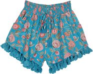 Fun Blue Floral Shorts Smocked Waist and Tassel Bottom